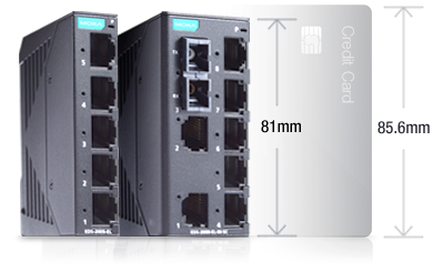 Small size of industrial ethernet switch is compared to credit card